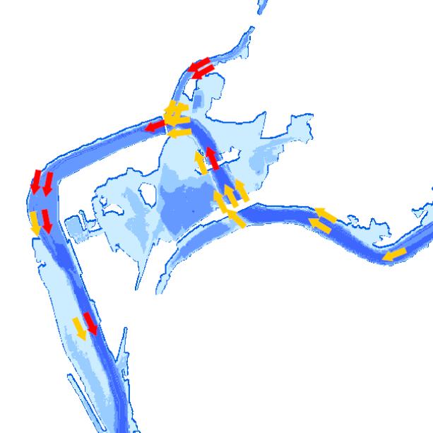 Die Grafik zeigt einen Ausschnitt aus dem WMS-Dienst  Hochwasser Gefahrenkarte .