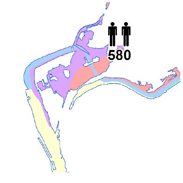 Die Grafik zeigt einen Ausschnitt aus dem WMS-Dienst  Hochwasser Risikokarte .