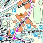 Die Grafik zeigt einen Ausschnitt aus der Stadtkarte farbe