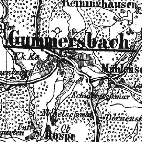 Die Grafik zeigt einen Ausschnitt aus dem WMS-Dienst  1860-1869: Topographische Kreisübersichten .